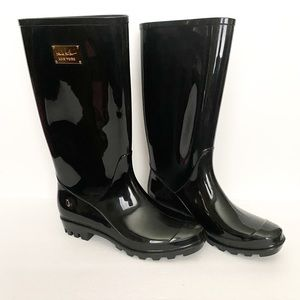 Nicole Miller black rain boots shiny